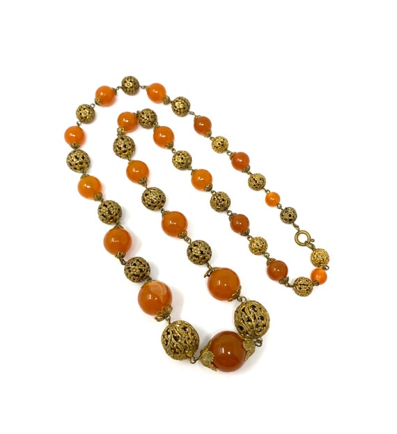 Vintage 1930s Brass & Amber Glass Long Necklace