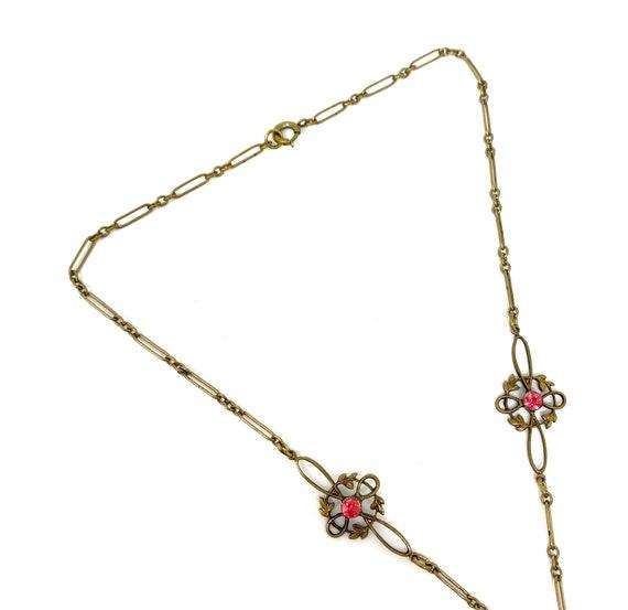 Vintage 1930s Brass Pink Glass Snake Design Neckl… - image 6