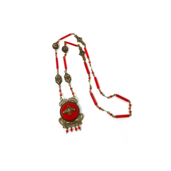 Vintage 1930s Red Glass & Brass Filigree Pendant N