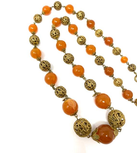 Vintage 1930s Brass & Amber Glass Long Necklace - image 6