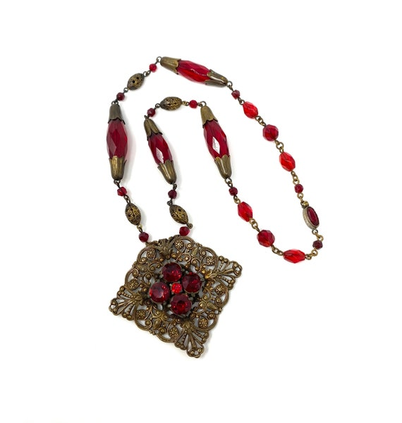 Vintage 1930s Red & Brass Filigree Necklace