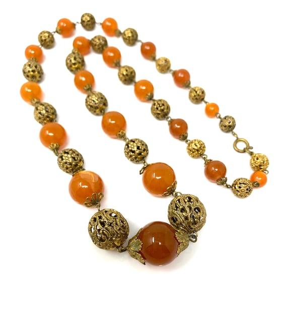 Vintage 1930s Brass & Amber Glass Long Necklace - image 5