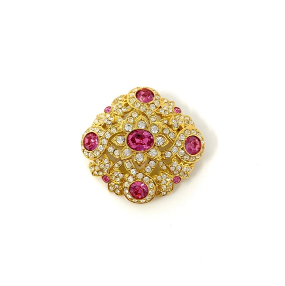 Vintage Joan Rivers Rhinestone Pin, 1980s Brooch