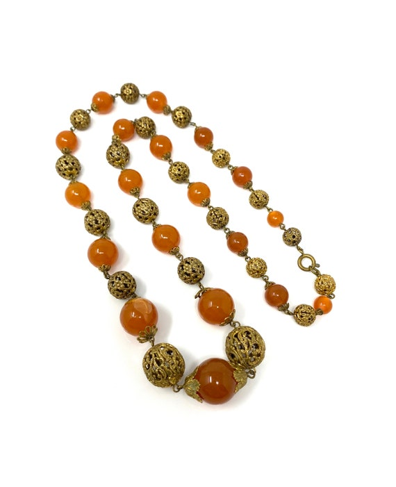 Vintage 1930s Brass & Amber Glass Long Necklace - image 2