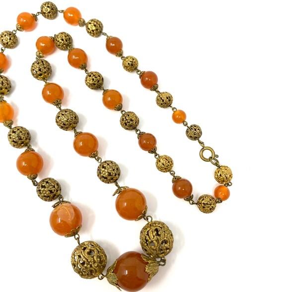 Vintage 1930s Brass & Amber Glass Long Necklace - image 8
