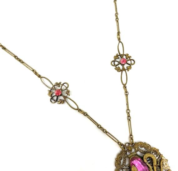 Vintage 1930s Brass Pink Glass Snake Design Neckl… - image 5