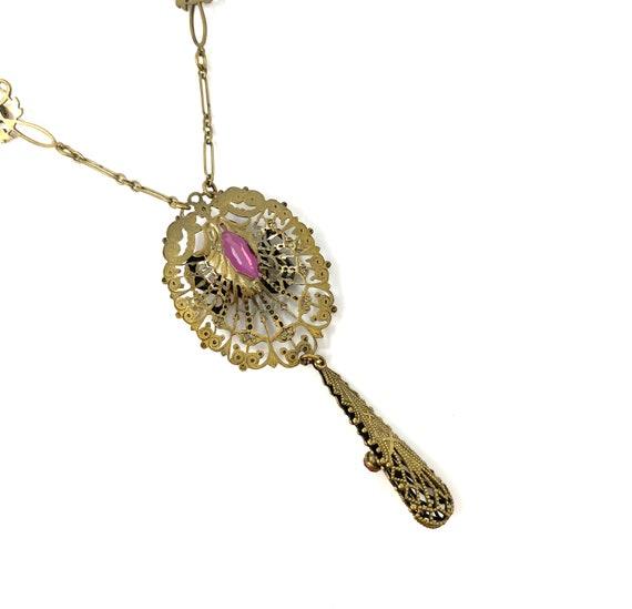 Vintage 1930s Brass Pink Glass Snake Design Neckl… - image 8