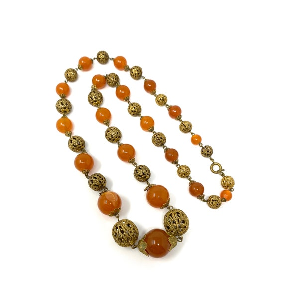 Vintage 1930s Brass & Amber Glass Long Necklace - image 3