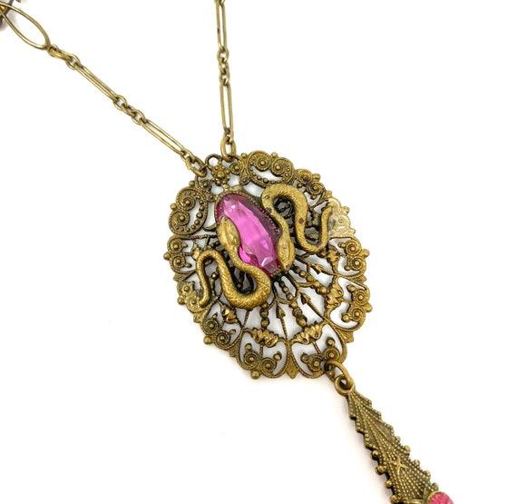 Vintage 1930s Brass Pink Glass Snake Design Neckl… - image 1