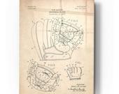 Acrylic Glass Wall Art 39 Baseball Glove Blueprint Patent Parchment 39
