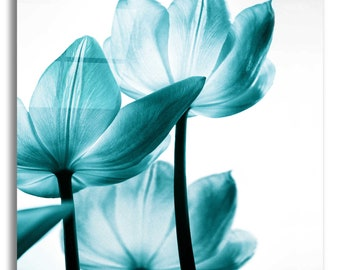 Acrylic Glass Wall Art 'Translucent Tulips III Teal' by Debra Van Swearingen