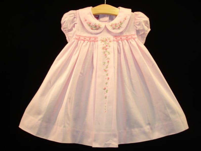 NEW Boutique Design Hand Embroidered Smocked Dress Children Baby Girl LIGHT PINK