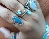 Adjustable stone crystal ring. Bohemian crystal ring. Custom wire rings.