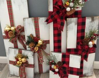 Farmhouse rustic faux wood presents. Christmas porch decor . Primitive Christmas decor. Farmhouse outdoor decor. Mantle wooden presents.