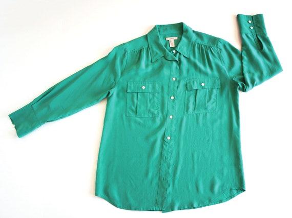 JCrew Blouse | Green Silk Blouse |  Emerald Green… - image 2