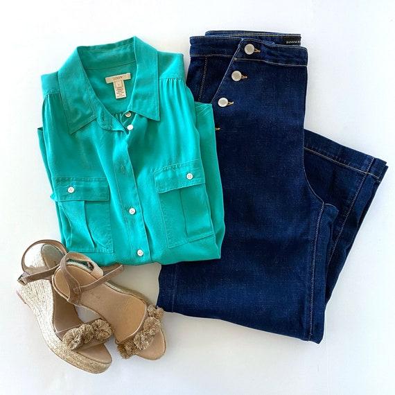 JCrew Blouse | Green Silk Blouse |  Emerald Green… - image 4