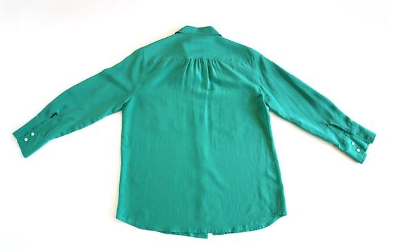 JCrew Blouse | Green Silk Blouse |  Emerald Green… - image 3