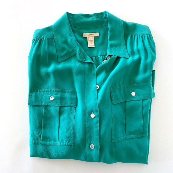JCrew Blouse | Green Silk Blouse |  Emerald Green… - image 1