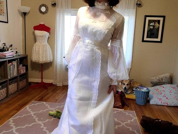 60s-70s ILGWU empire style wedding dress