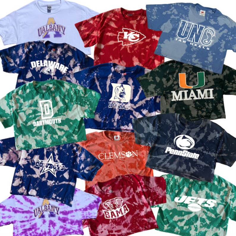 College T-shirts ANY COLLEGE/ NFL Tee Bleach/Tie dye image 0