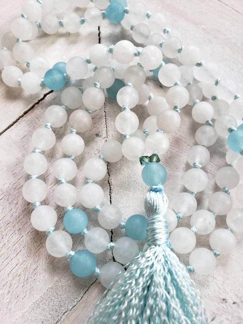 White and Blue Jade Mala