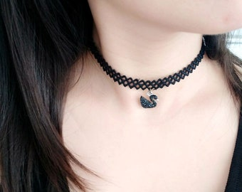 Handmade Black Lace Choker with Black Swan Pendant Decoration,Bridal Accessories,Lace Jewelry,Stunning bracelet,party gift