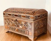 Large wooden chest with sturdy lock and a drawer, marquetry, treasure chest, Mother s Day Gift