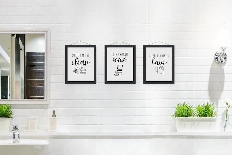 Bathroom Rap Lyrics Bathroom Rap Puns Printable Signs Set ...