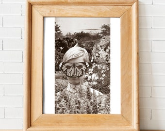 Who Are You?: Collage, Mixed Media, Original, Monochromatic, Archival Inkjet Fine Art Print, Figurative, Surreal Wall Decor or Gift Idea