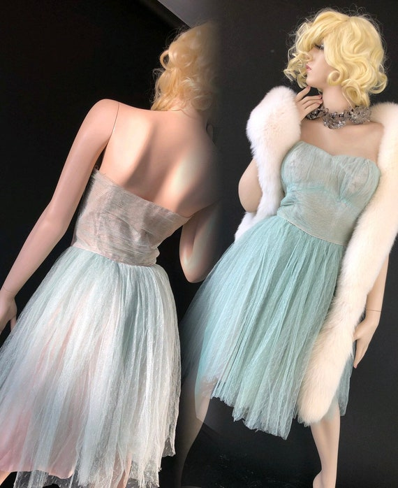 50's Prom Dress / Baby Blue Ball Gown