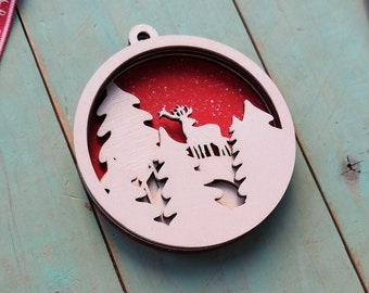 Christmas ornament SVG. Multi layer SVG DXF ep cdr Christmas laser cut file. Christmas deer svg