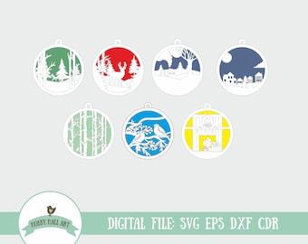 Christmas ornament SVG. Multi layer SVG. Christmas laser cut file.