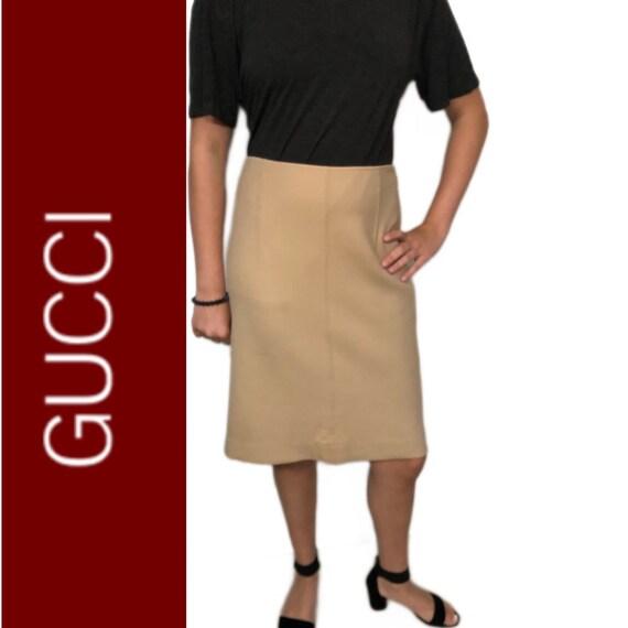 GUCCI Pencil Skirt Camel Stretch Wool Sz 40