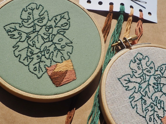 Monstera House Plant Complete Hand Embroidery Kit / for Beginners, Kids & Adults / Hoop Art Kit / Craft Kit Gift