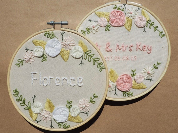Floral Complete Embroidery Kit with Custom Name / Wedding, Anniversary, Baby name, Family name / Hoop Art Craft Kit Gift / for Beginners