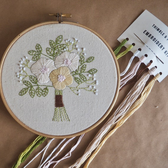 Bouquet Complete Hand Embroidery Kit / for Beginners, Kids & Adults / Hoop Art Kit / Craft Kit Gift