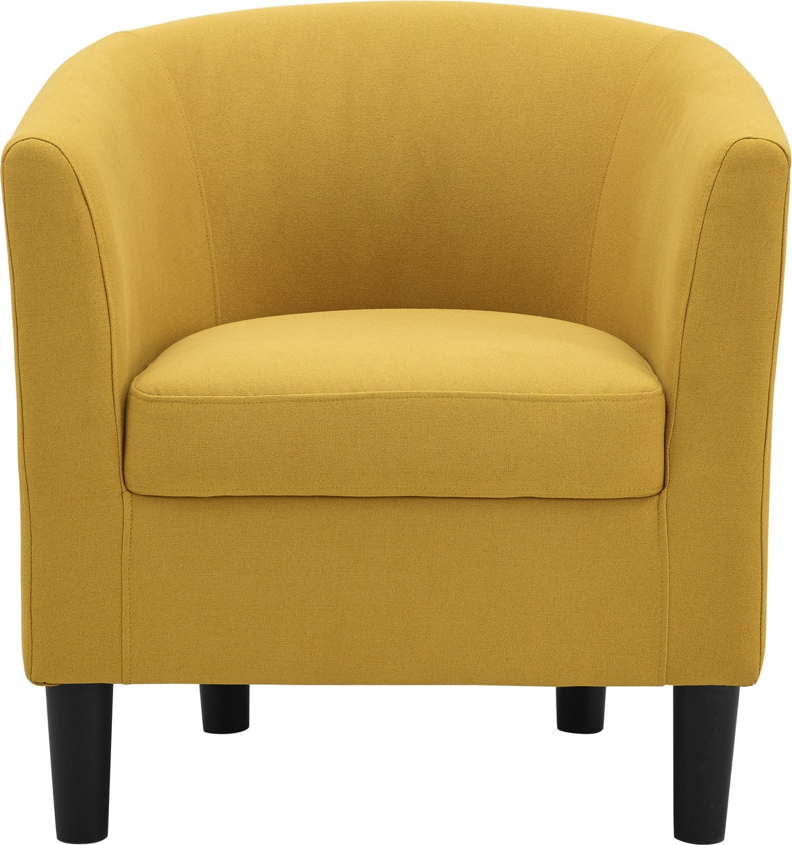 Accent Chair with Curved Back  Ottoman Club Seat Armchair Modern Armrest USA