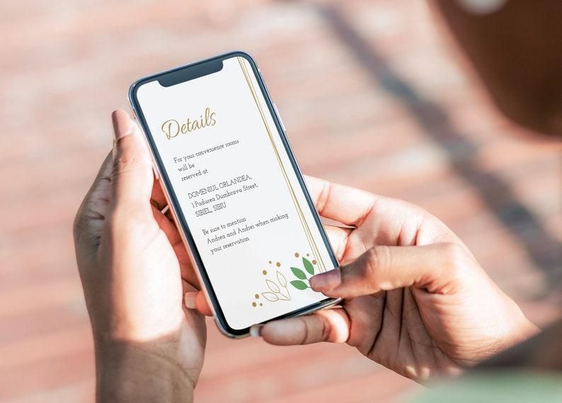 Smartphone Invitation ANDREA Download Instant JPG Digital Template  Wedding Details Evite Greenery Details Electronic Card