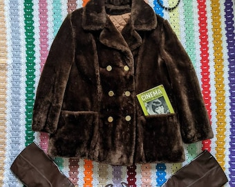 70s Winter Peacoat ML Vintage Faux Fur by Sears The Fashion Place Vegan Coat MOD Bohemian Boho Chic Double Breasted Quilted Insulation