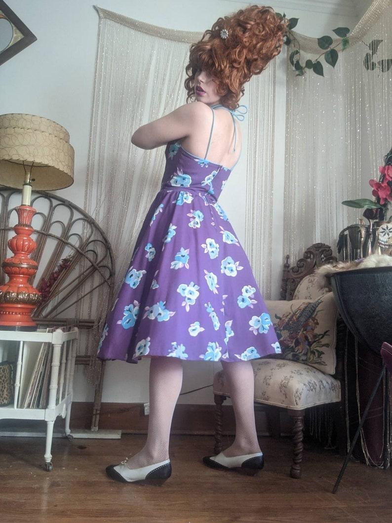 1960s Floral Halter Pinup Dress