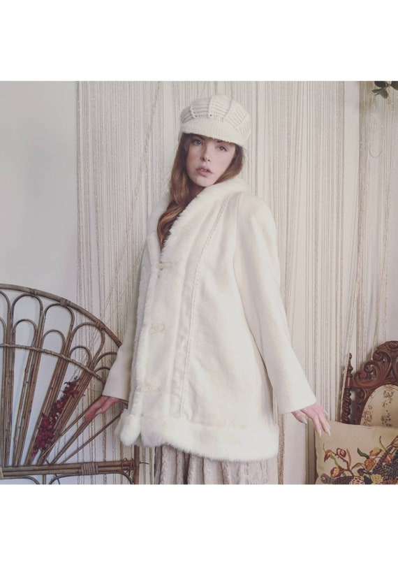 Vintage Embroidered Cream Afghan Coat