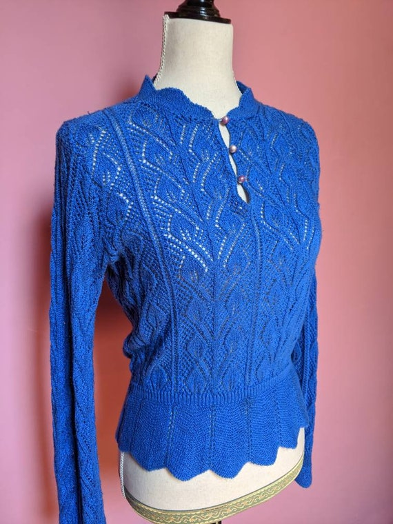 1960s Handmade Crochet Sweater