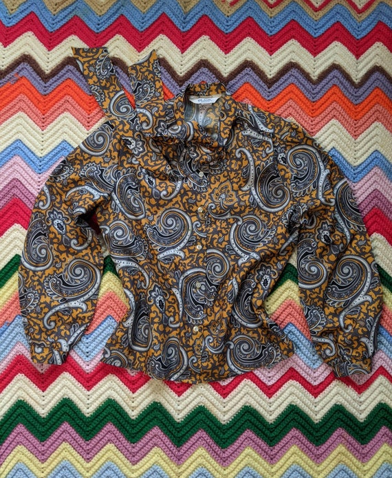 1970s Chartreuse Paisley Scarf Top