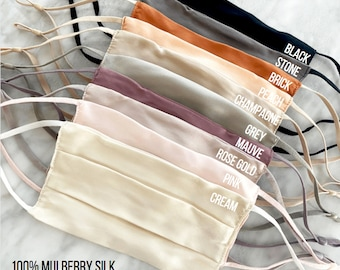 100% Silk Face Mask Nose Wire Adjustable Ear Loops Reusable and Washable Protective Mulberry Silk // Made in USA! Soft Breathable