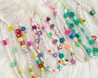 Y2K 90s Phone Charm Strap Face Smile Fruit Beaded Pearl Colorful Beaded Fruity Mermaid Phone Chain