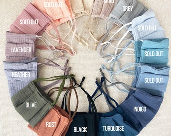 100% Cotton Face Mask Nose Wire Adjustable Ear Loops Reusable and Washable Protective Eco Friendly // Made in USA! Soft Cotton Double Layers