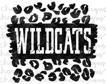 Wildcats | School Spirit | Team Pride | Distressed Leopard Print | Football | Black&White | PNG digital file download | Sublimation transfer