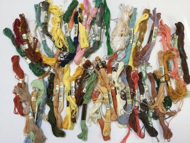 Big Mixed Lot of 50 Partially Used DMC Embroidery Floss Cotton Cross Stitch Embroidery Multicolor Floss