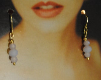 2 Long Feminine /& Empowering Art Deco Stylized Flower- White Fresh Water Pearl Accent Dangle Earrings on a French Hook Wire Silver Toned