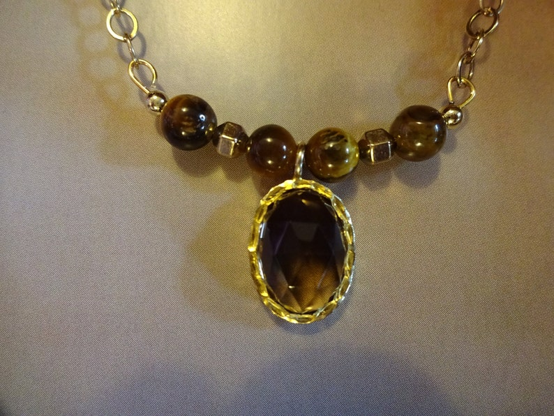 Gold Fill Beads on an 18 Gold Fill Chain. Empowering and Grounding Crystal Necklace with Tigers Eye Beads and a Smoky Quartz Oval Pendant
